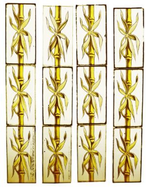 A Series of 70 Hand Painted Bamboo Stained Glass Panels