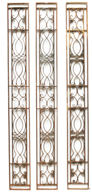 Set of Three Reclaimed 19th Century Wrought Iron Panels
