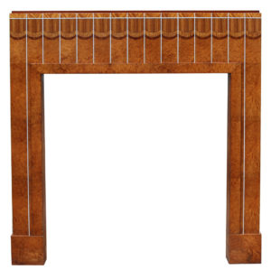 An Art Deco Burr Walnut Fireplace