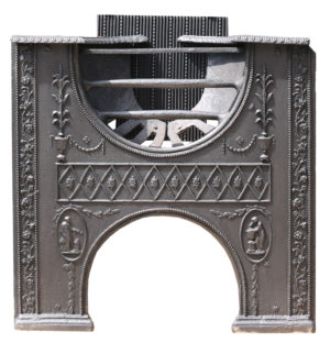 A Reclaimed 18th Century Cast Iron Hourglass Hob Grate