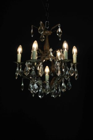 An Antique French Six Branch Cage Chandelier
