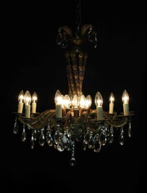 A large Reclaimed Ten Branch French Chandelier
