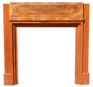 An Art Deco Period Burr Walnut Fireplace