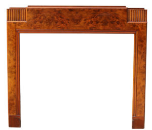 An Antique Art Deco Burr Walnut Fire Surround