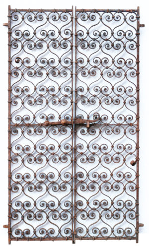 A Pair of 19th Century Wrought Iron Window Grills