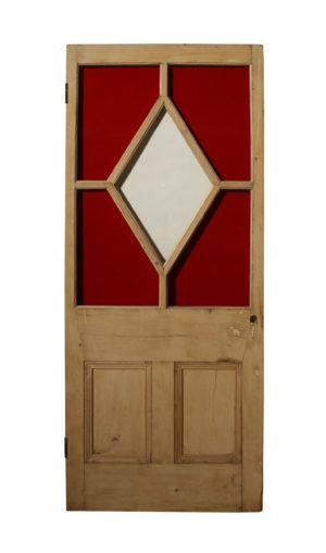 Antique Stained Glass Pine Door