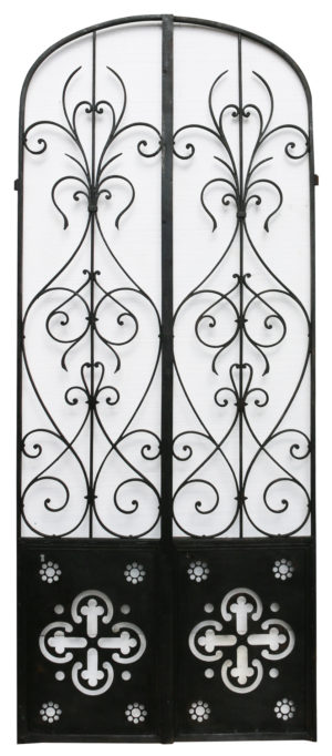 A Pair of Antique Wrought Iron Arched Gates