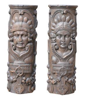 A Pair of Antique Oak Figurative Carvings