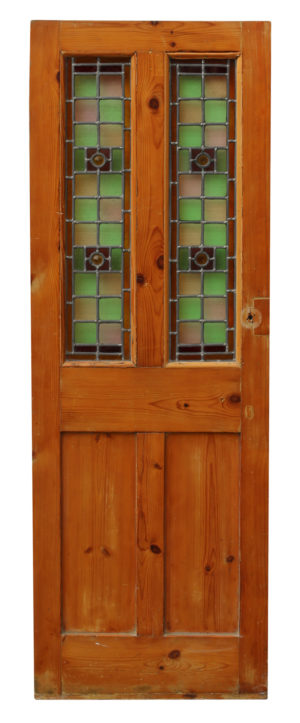 A Reclaimed Victorian Stained Glass Interior Door