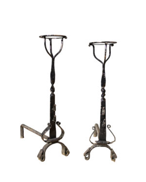 Pair Of Early 20th C. Wrought Iron Fire Dogs