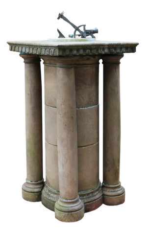 A White Marble and Bronze Noonday Cannon Sundial with Terracotta Pedestal