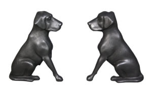A Pair of Cast Iron Fire Dogs by 'Liberty Foy, St Louis'