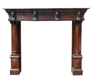 Antique English Carved Oak Fire Surround