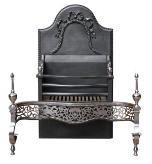 George III style Polished Steel Fire Grate