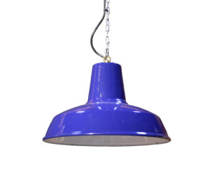 A Reclaimed Rewired Blue Enamel Factory Light