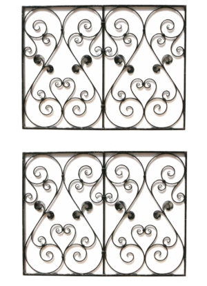 A Pair of Reclaimed Wrought Iron Panels or Railings