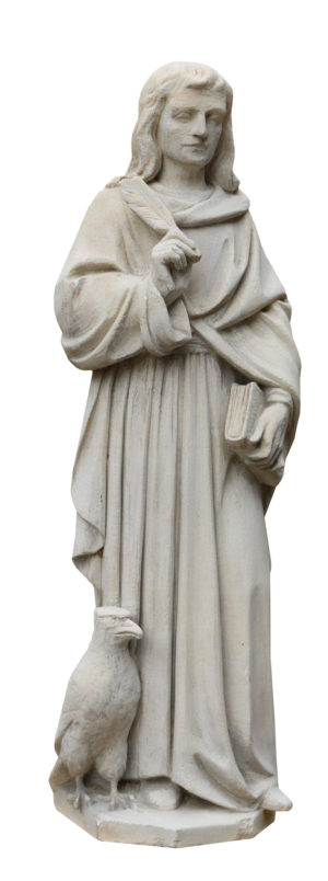 Antique Carved Limestone Statue of a Scholar