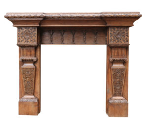 19th Century Jacobean Style Carved Oak Fire Surround