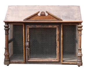 An Unusual Antique Bird Cage or Storage Cabinet