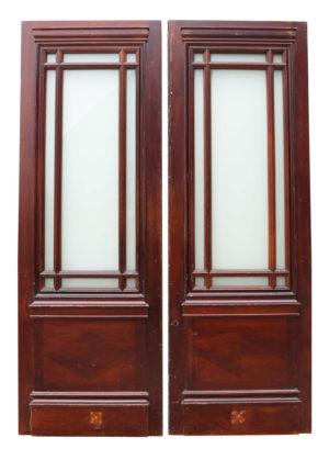 A Set of Reclaimed Glazed Mahogany Double Doors