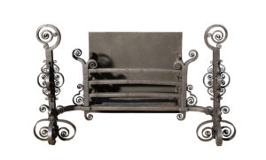 An Antique Arts & Crafts Wrought Iron Fire Grate