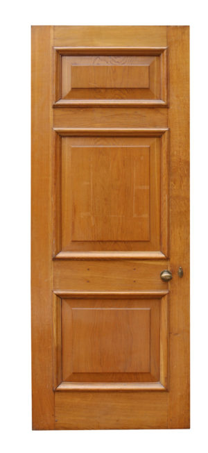A Set of Three 1920s Oak Doors with Frames and Architrave