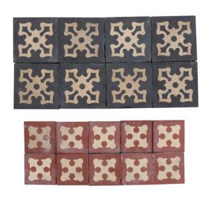 18 Antique Encaustic Floor Tiles