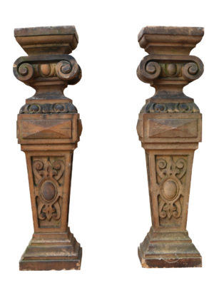 A Pair of Antique Terracotta Plinths or Lamp Bases