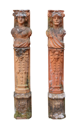 Pair of Antique Terracotta Herms of Classical Design