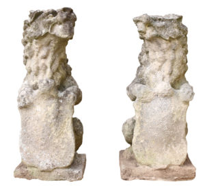 Pair of 18th Century English Limestone Armorial Lions