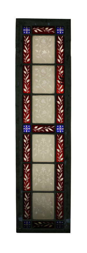 An Antique Stained and Etched Glass Window