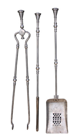 A Set of Early 19th Century Polished Steel Fire Tools