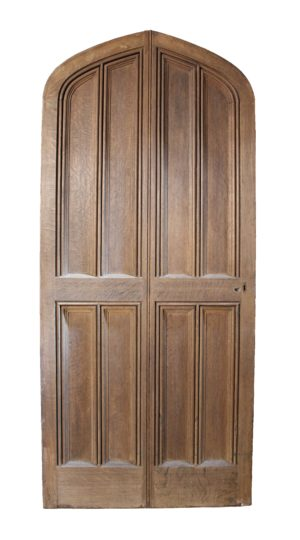 An English Gothic Style Arched Oak Front Door