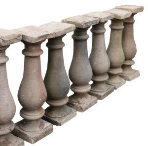 Nine Reclaimed English Carved Stone Balustrades