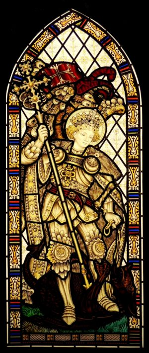 St George and The Dragon Hand Painted Stained Glass Window