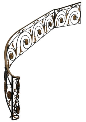 An Antique Wrought Iron Hand Forged Staircase