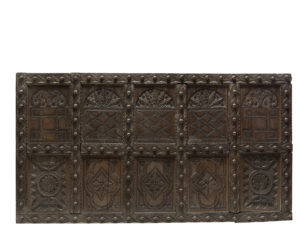 Large Antique English Carved Oak Wall Panel