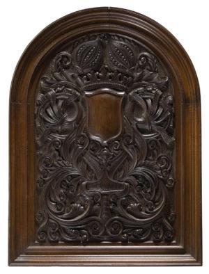 Five Antique Tudor Style Carved Oak Wall Panels