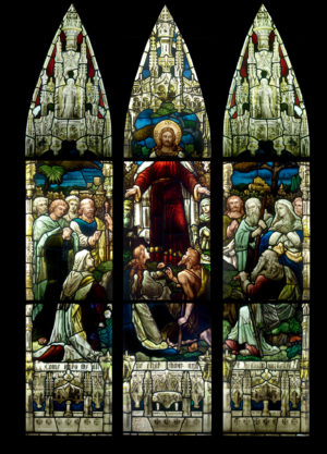 Antique Stained Glass Windows Depicting Christ Healing The Sick