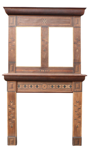An Early 20th Century Wooden Fire Surround with Overmantel