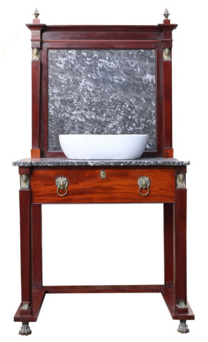 An Antique English Wash Stand with Basin