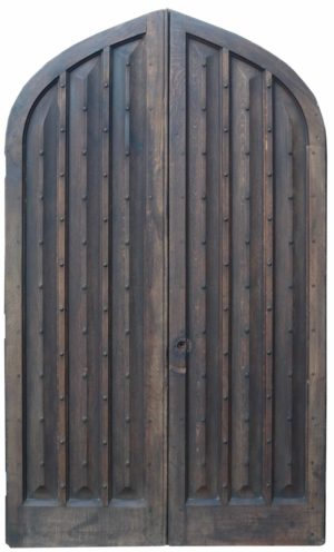 Pair of Antique Arched Oak Studded Church Doors