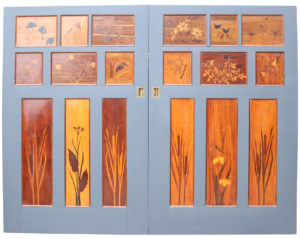 A Pair of Reclaimed 1930's Marquetry Inlaid Sliding Doors