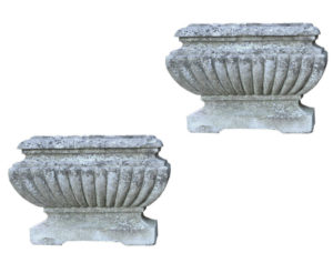 Two Antique Gadrooned Limestone Garden Trough Planters