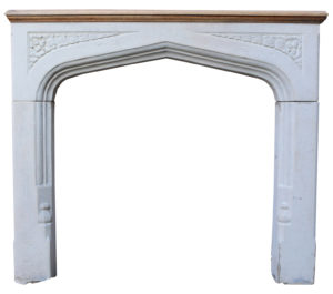 An Antique English Gothic Style Limestone Fire Surround