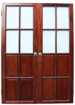 Antique Mahogany Half Glazed Double Doors