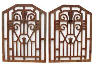 Two Art Deco Cast Iron Panels