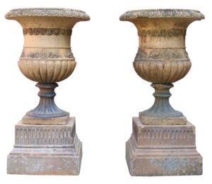 Two Antique Terracotta Garden Planters or Urns on Plinths