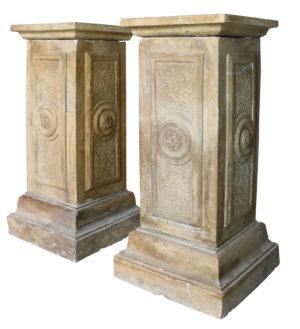 A Pair of Antique Terracotta Garden Pedestals