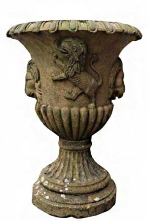 An Antique English Carved Yorkstone Urn